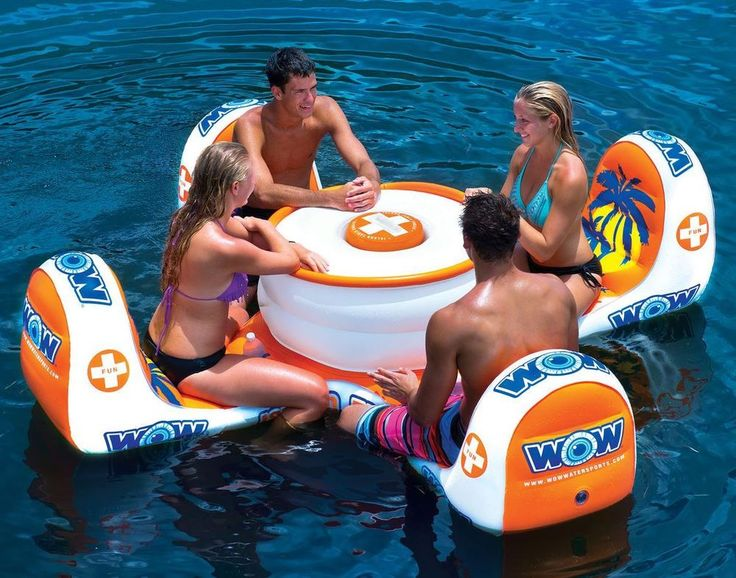 Inflatable Island 4-Person Floating Table Lake Picnic Water Swimming Pool Cooler…