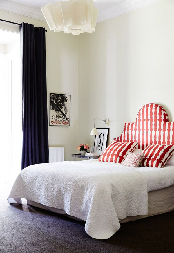 The bedhead was commissioned by Fiona, after seeing something similar in an old magazine by a Sydney designer Darryl Gordon Design.  'I absolutely love the Christopher Farr fabric designed by one of my design heroes Ilse Crawford' says Fiona. (The bedhead fabric is available at Ascraft).