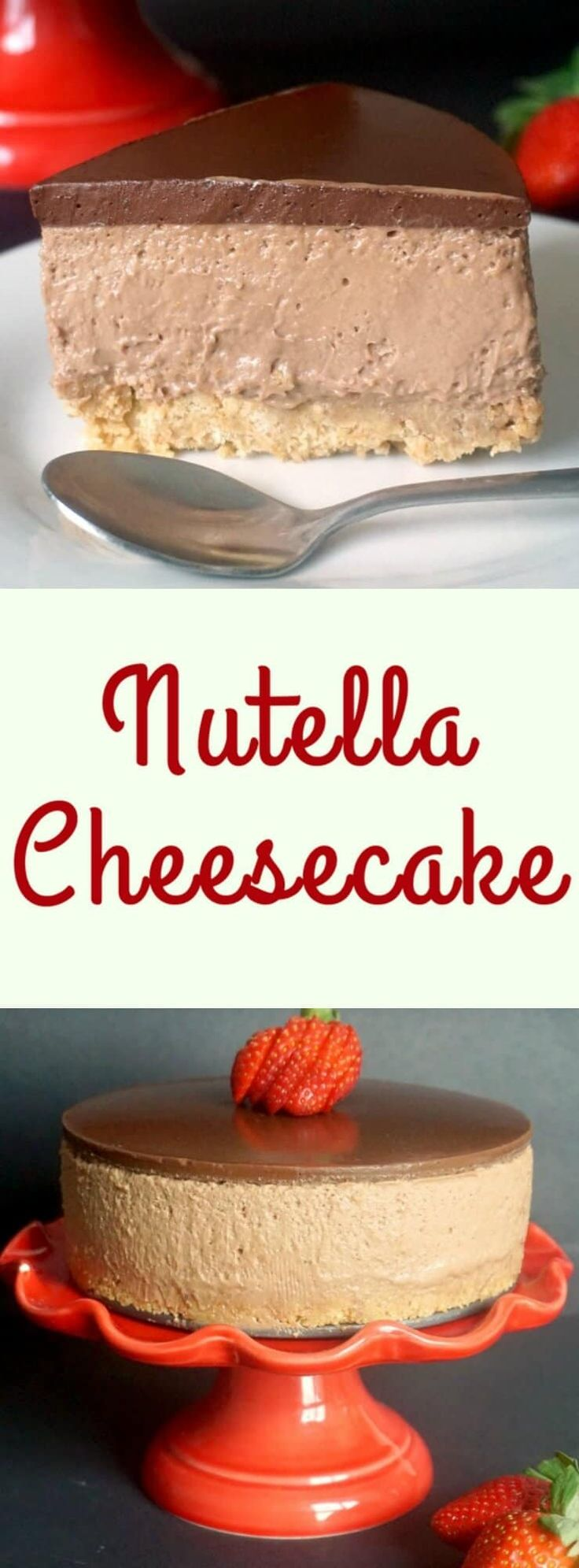 Nutella Cheesecake, an indulgent no-bake cake that is perfect for Valentine's Day. It has a silky texture, it's rich, yet light at the same time, and it's has a wonderful orange aroma that gives it a nice delicate kick. An impressive dessert for your other half. #nutella , #nutellacheesecake, #cheesecake , #valentinesday , #dessertsforvalentinesday, #valentinesdaydesserts, #nobake