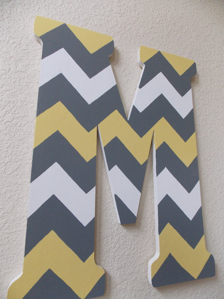 hand painted wooden letter with chevron pattern 5000 via etsy