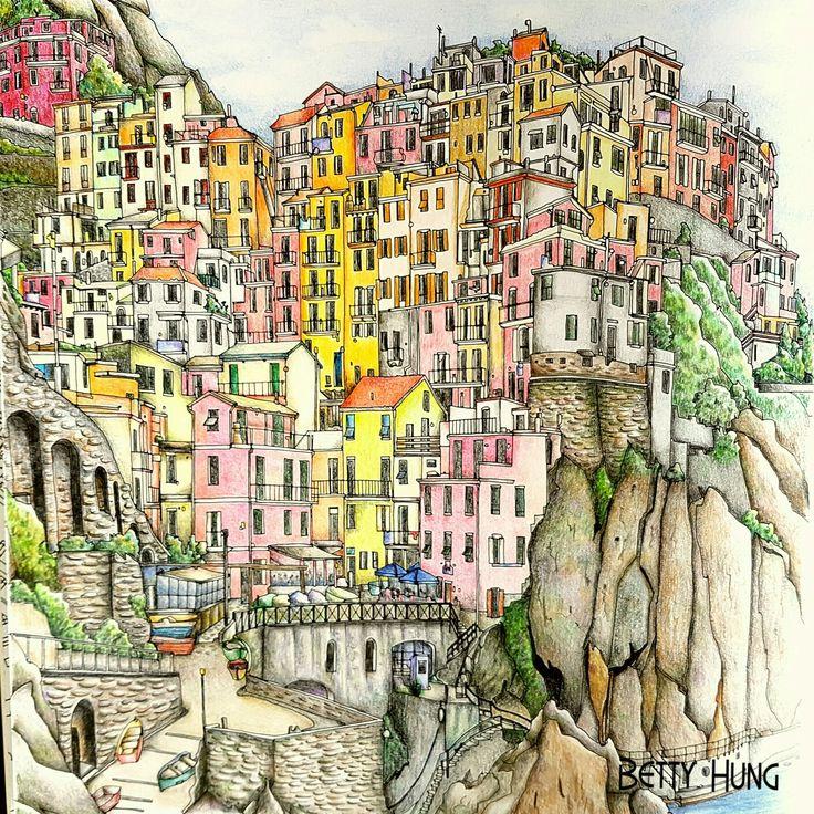 Coloring by Betty Hung - colorart.ca   Manarola, LA Spezia, Italy   Steve McDonald - Fantastic Cities