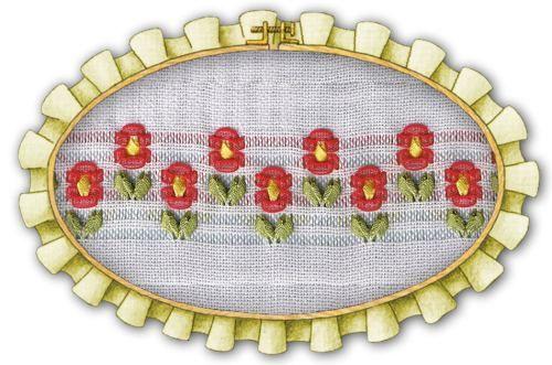Flores caladas con cintas en 6 deshilados