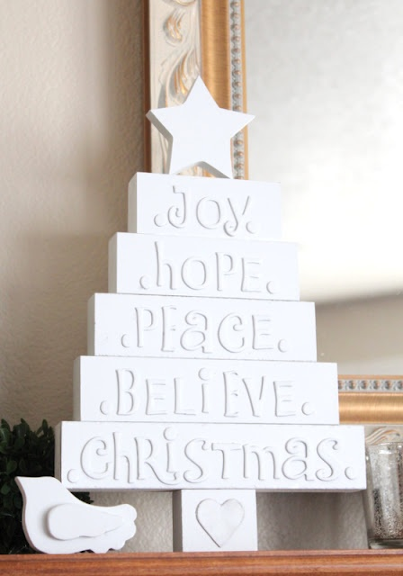 DIY White Wood Christmas Tree with Letters