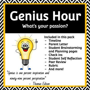 The Ultimate Genius Hour Pack Genius Hour or 20% Time is the latest way to get your students engaged in their learning! This inquiry-based project will foster creativity and bring back a love of learning! Encourage a growth mindset as the students learn to face challenges and work through them! This is a teacher friendly pack for teachers that are just starting out on their Genius Hour journey or are experts!