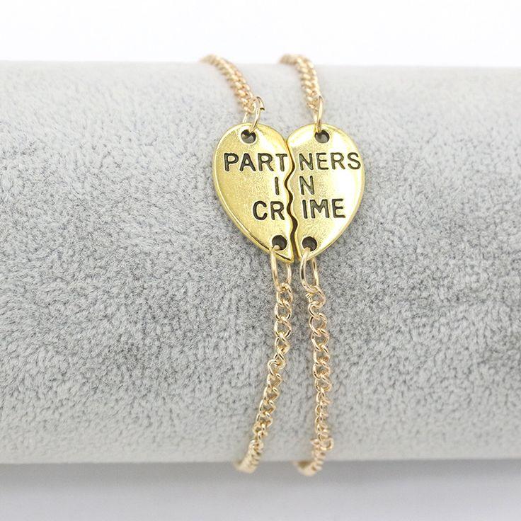 "Double Heart Parts Double Chains per pair Words ""Partners in crime"" Golden Silver Bracelets for  Womne Men #Affiliate"