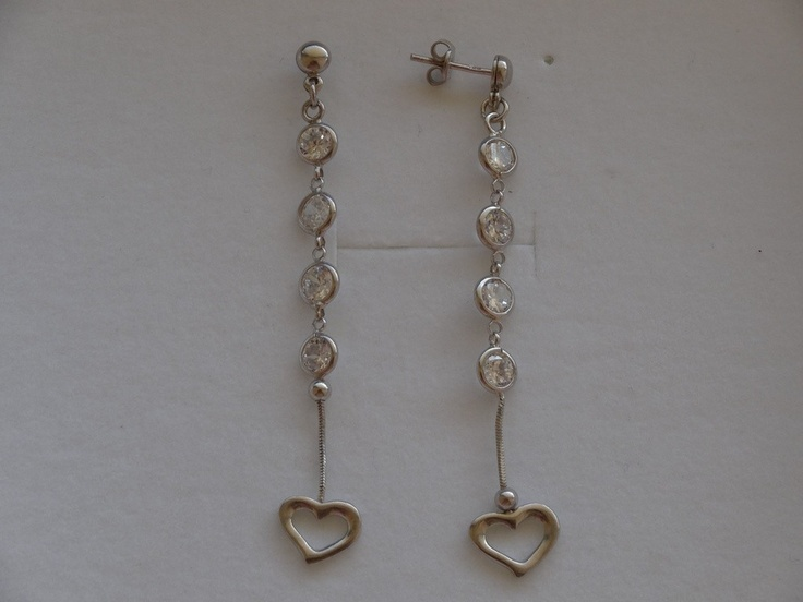 $46 Italian Sterling Silver Earrings with Cubic Zirconia Stone, info@bijuterie-online.ro.