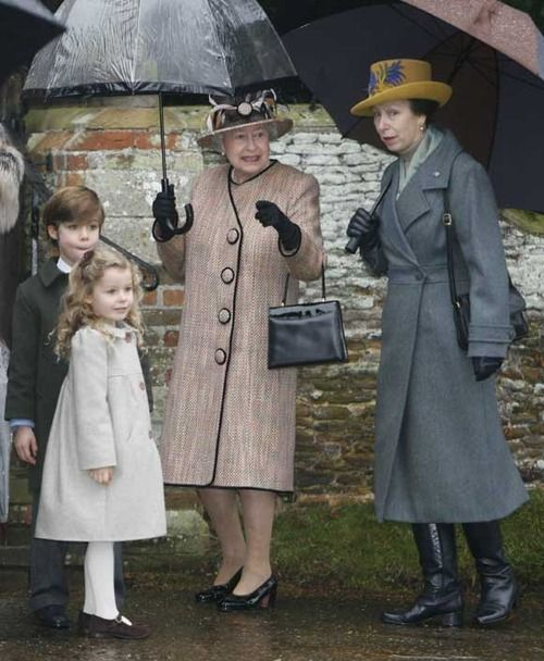 Queen Elizabeth with her daughter, Princess Anne, The Princess Royal and her great nephew The Hon. Charles Armstrong-Jones, and her great niece, The Hon. Margarita Armstrong-Jones