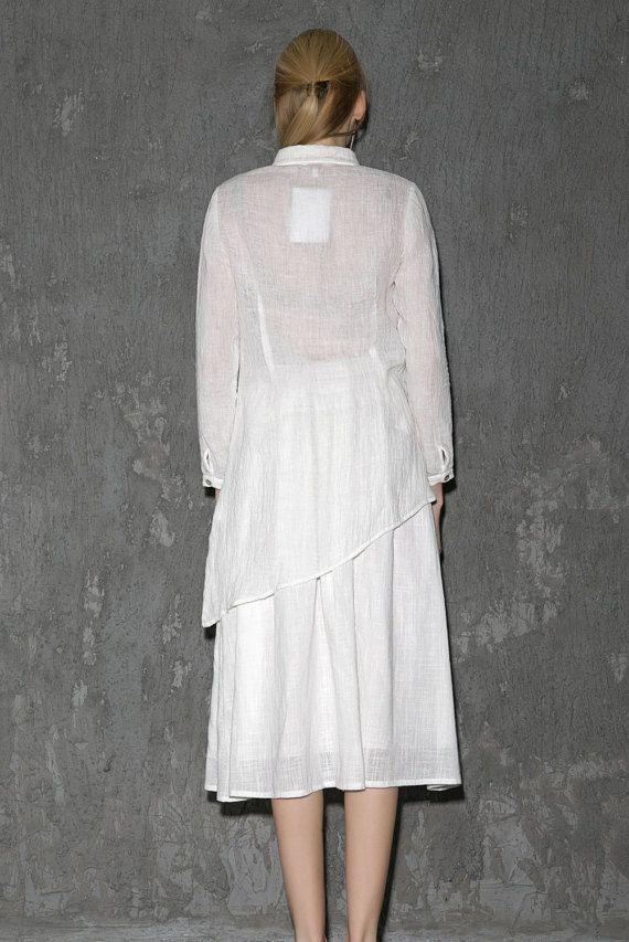 Woman's White Linen Shirt Asymmetrical Sheer Long by YL1dress