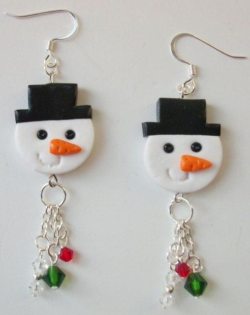 Polymer Clay Holiday Snowmen by CompletelyPersonal on Etsy, $8.95