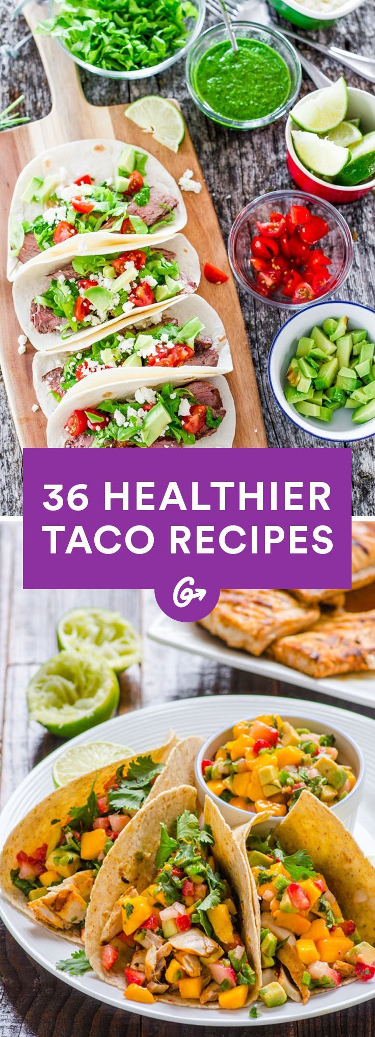 From roasted vegetable to buffalo chicken to chocolate (oh yeah!) and more, these recipes will leave you satisfied  #tacos #recipes #healthy http://greatist.com/eat/healthy-taco-recipes