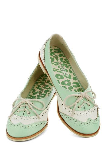 Amalgam of the Year Flat in Mint and Ivory - White, Menswear Inspired, Pastel, Flat, Lace Up, Mint, Faux Leather, Variation