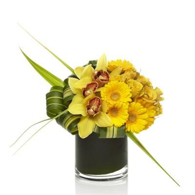 Yellow Rose Yellow Mini Gerbera Daisy Yellow Cymbidium Orchid Flax Leaf