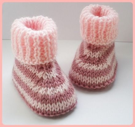 Chaussons bébé laine tons rose tricot 0/3/6 mois                                                                                                                                                                                 Plus