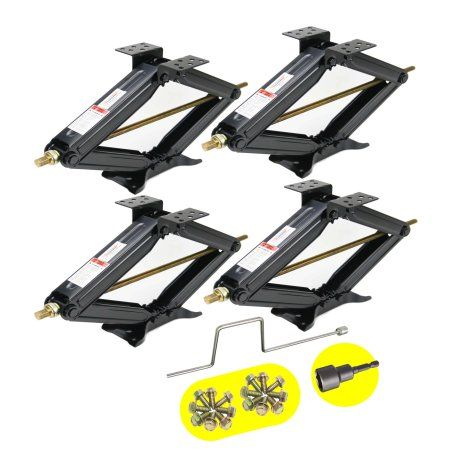 "Set of 4 5000 lb 24"" RV Trailer Stabilizer Leveling Scissor Jacks w/handle & Power Drill Socket -26020 Image 1 of 2"