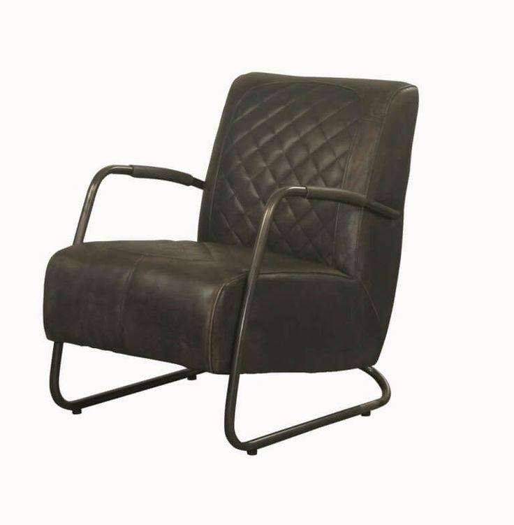 Industriele fauteuil ILC-18 in buffel leer.