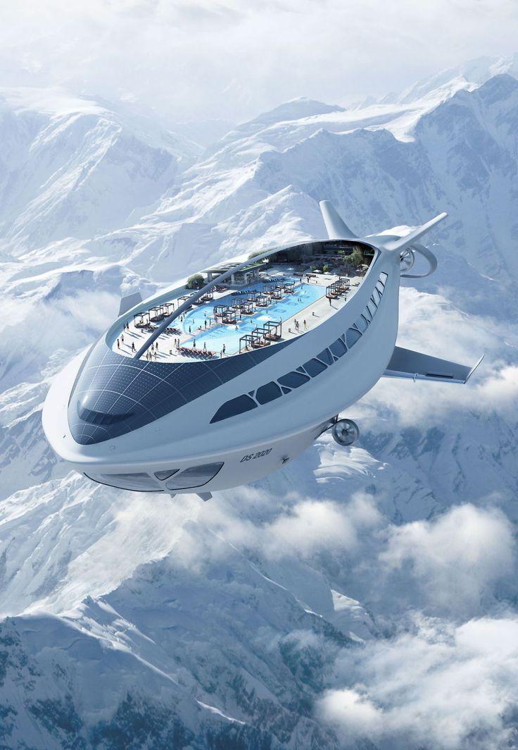 ELEGANT: Så stilfullt kan man – i fremtiden – muligens seile over Alpene, om bord i et luftskip med cruiseskipets alle fasiliteter.