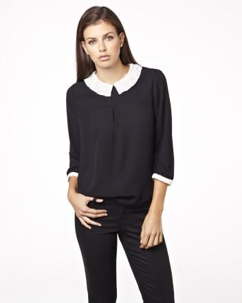 Silky crepe blouse with contrasting peter pan collar Fall 2013 Collection