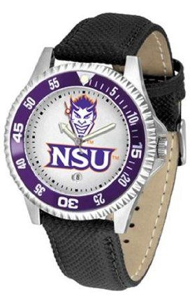 Northwestern State Demons Competitor Ladies Watch with Leather Band by SunTime. $72.95. The hottest sports watch on the market, the Competitor features the Northwestern State Demons team logo boldly displayed on the dial along with a colorful rotating timer/bezel, quartz accurate movement and leather/nylon strap. The combined leather underneath and nylon on top makes the watch water resistant as well.¶Wear it to a game, while watching a game or just to show off your NCAA...