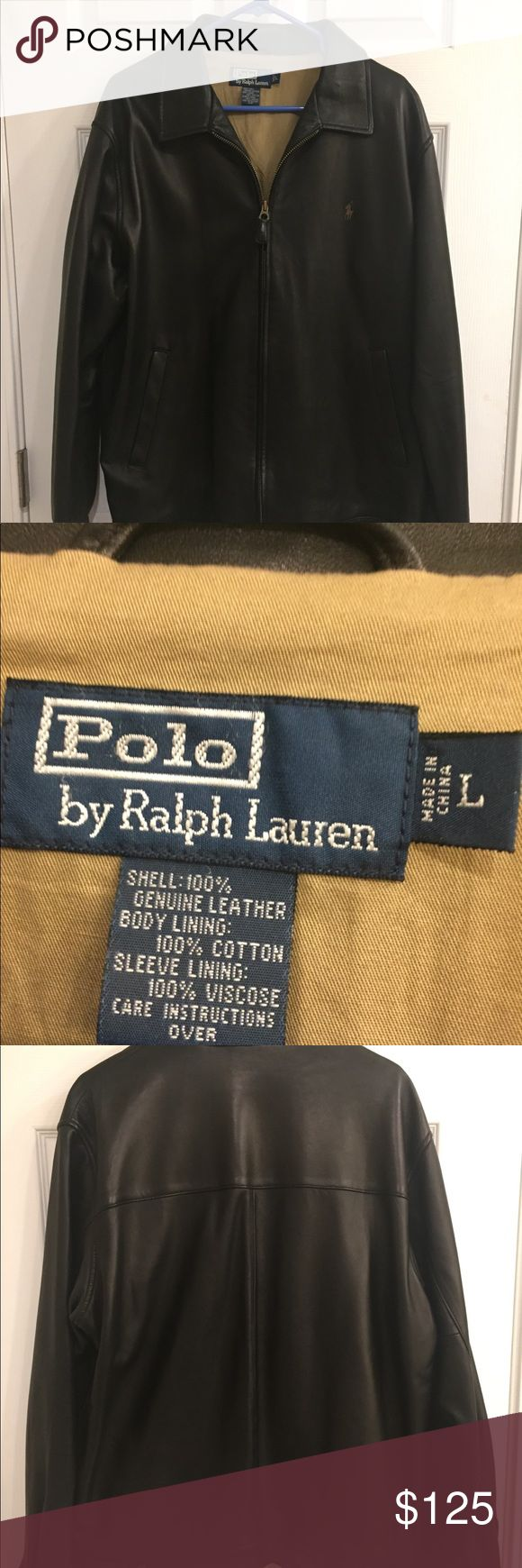 Polo Leather Jacket Black Leather Polo Jacket, mint condition, wore only a couple times Polo by Ralph Lauren Jackets & Coats Bomber & Varsity