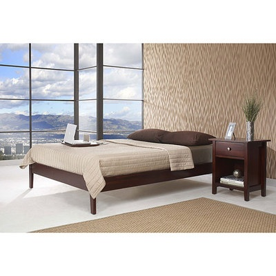 queensize simple platform bed frame tropical mahogany solid wood on ebay