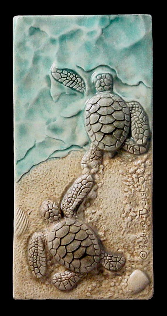 Sculpture, wall art, ceramic tile, Baby sea turtles, I Win, center of baby sea turtle triptych on Etsy, $38.00
