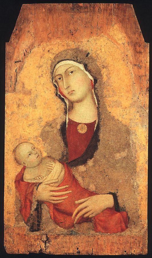 Мадонна с младенцем (от Lucignano d'Arbia). 1321 Дерево, темпера. Пинакотека Nazionale, Сиена
