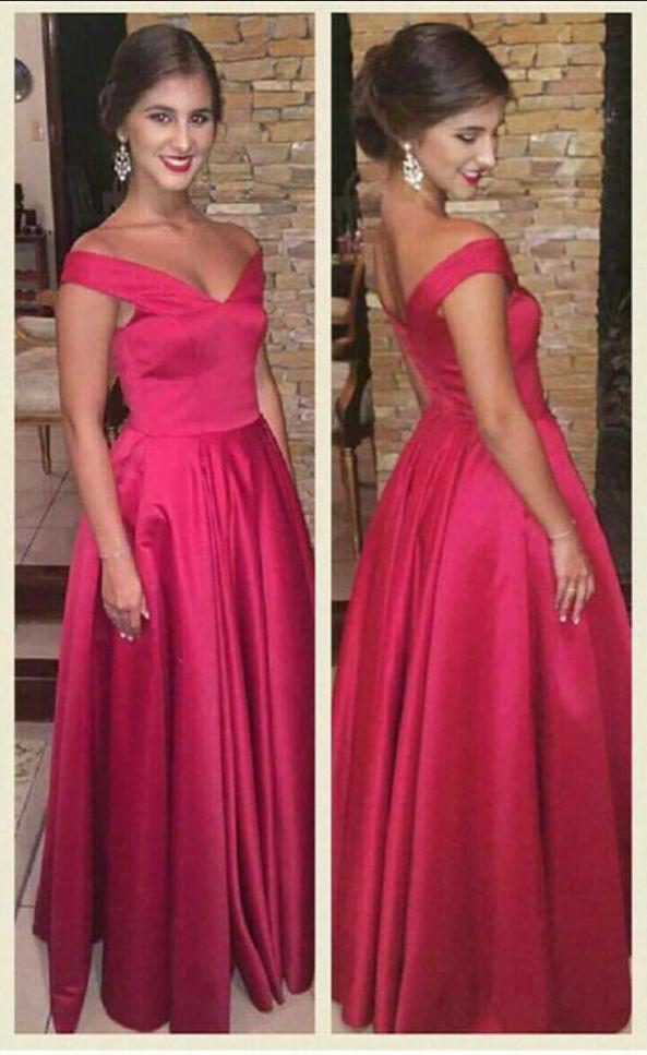 simple formal dress,off shoulder A-line prom dresses,satin red