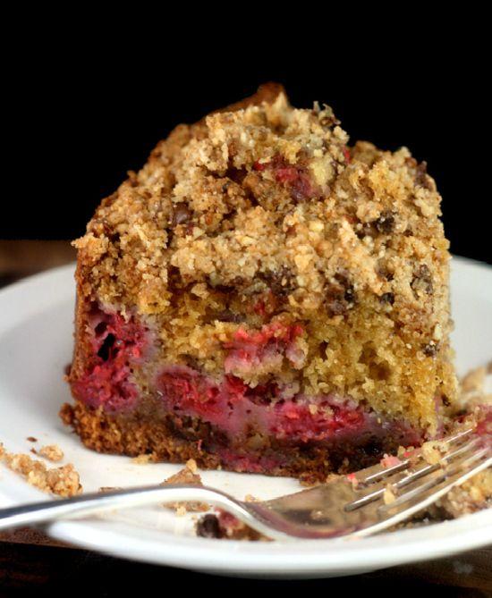 Gâteau Streusel aux pépites de chocolat, beurre de pécan et framboise   – Gluten Free