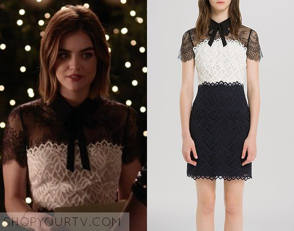 Aria Montgomery (Lucy Hale) wears this black and white lace sheath dress with bow collar and sheer yoke in this week's episode [...]
