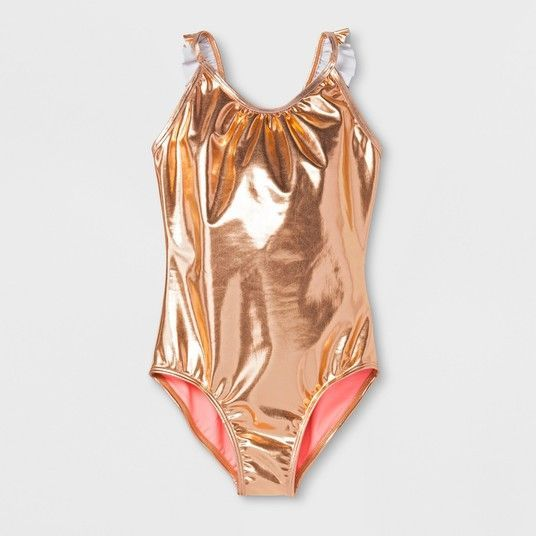 112d7effc9 Rose Gold Cat & Jack Target Girls Swimsuit | Coral | | Bathing Suit | One  Piece Swimsuits | Little Girl Swimsuits | #swimsuit | #swim…
