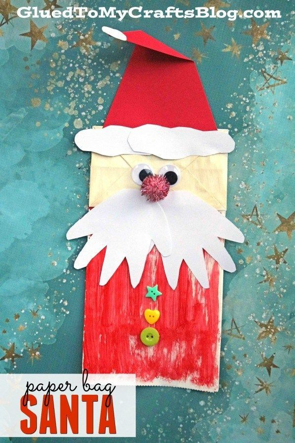 Paper Bag Santa Puppet w/Handprint Beard - Kid Craft Kids crafts