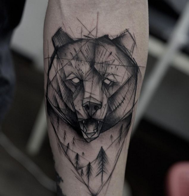 Sketch-Style Grizzly Bear Tattoo by Kamil Mokot