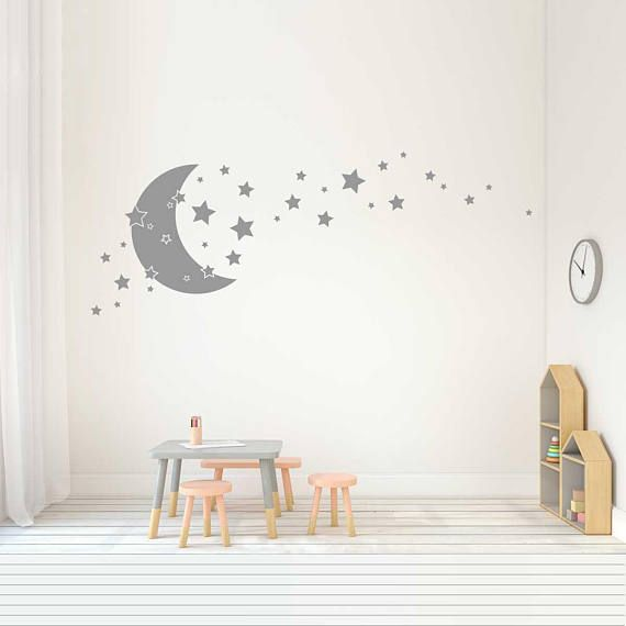 Stars And Moon Wall Decals Nursery Decor Stars And Moon Etsy Nursery Wall Decals Baby Room Decor Moon Wall Decal