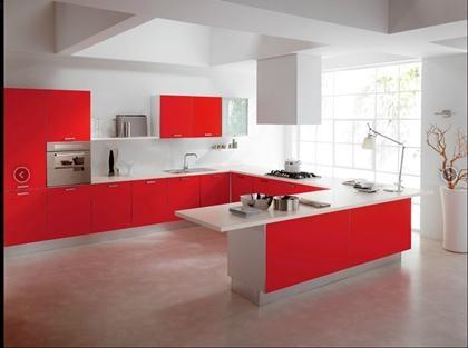 Cocinas dise o de cocinas en color rojo kitchen - Cocinas de color rojo ...