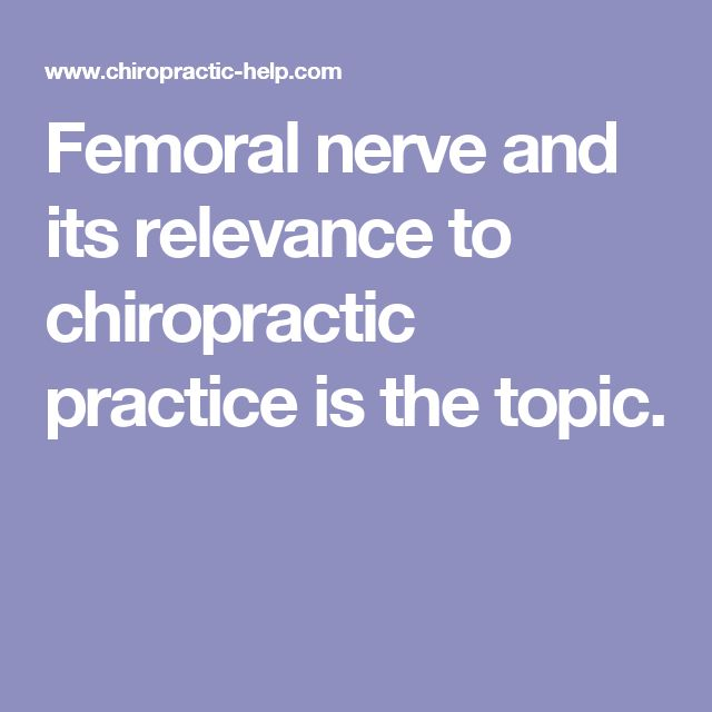 Femoral nerve and its relevance to chiropractic practice is the topic.