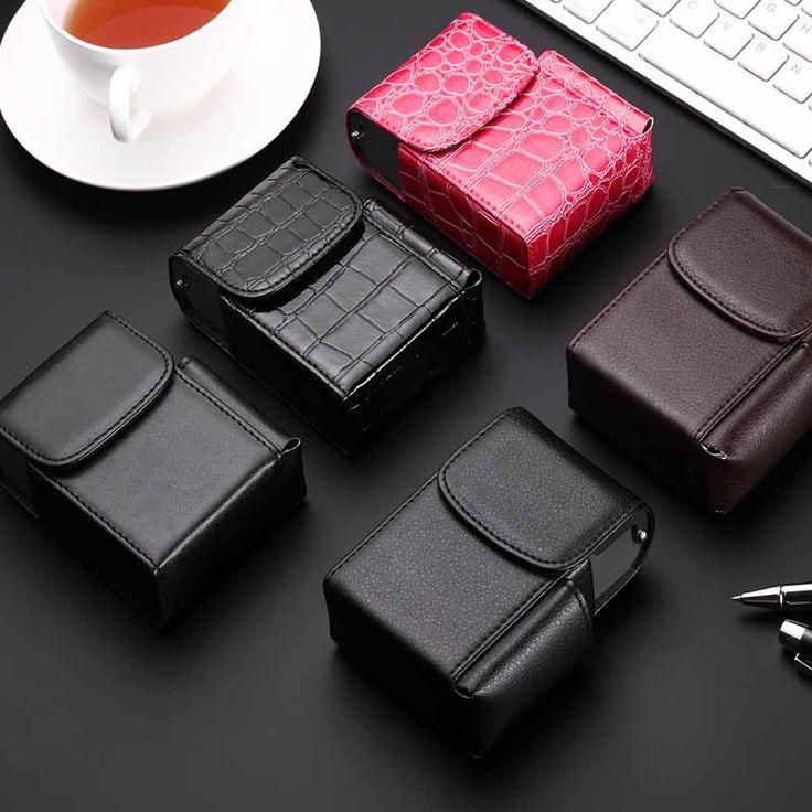 New flip stainless steel PU leather tobacco cases lighter bag cigarette holder