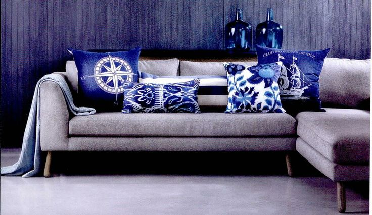 Grey Couch With Blue Pillows Home Ideas Amp Decor