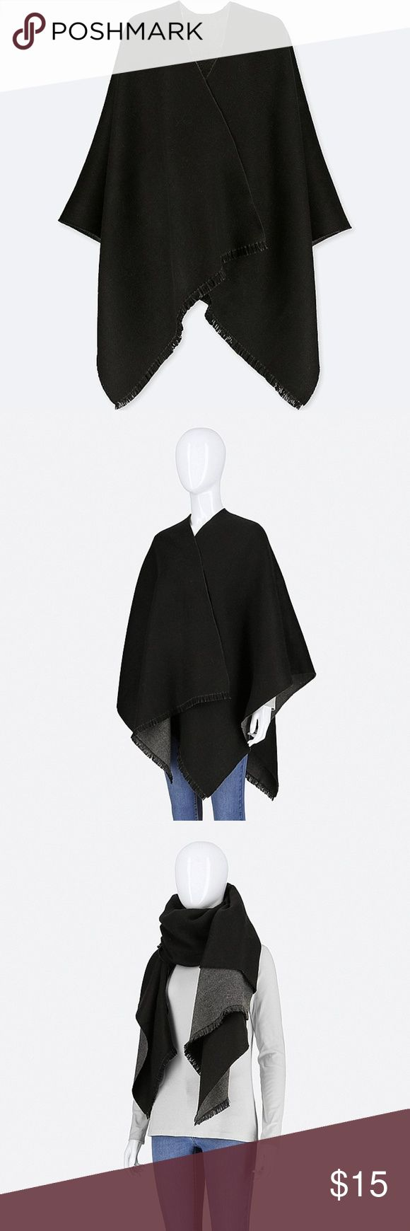 Black Uniqlo Reversible 2-Way Stole Brand new with tags. An elegant wool-blend stole that can also be worn as a wrap or poncho. Large size lets you wear it as a stole or wrap. A notched neck helps keep it in place when wearing it on your shoulders.   -100% Acrylic -Imported Uniqlo Accessories Scarves & Wraps