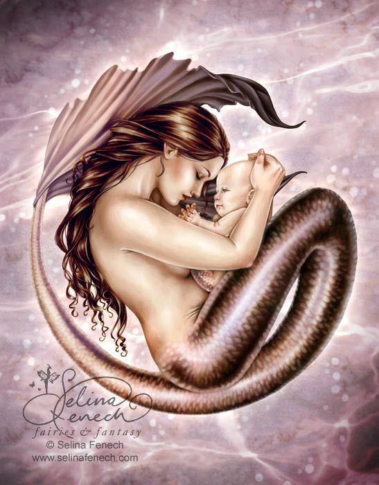Motherhood: Tattoo Ideas, Babies, Mothers, Selina Fenech, Tattoos, Fantasy Art, Mermaids, Sea, Motherhood