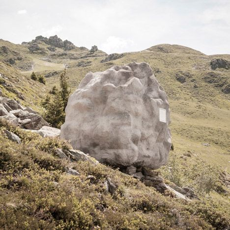 Antoine: Swiss studio Bureau A has concealed a wooden cabin inside an artificial rock and transported it to a remote site in the Swiss Alps