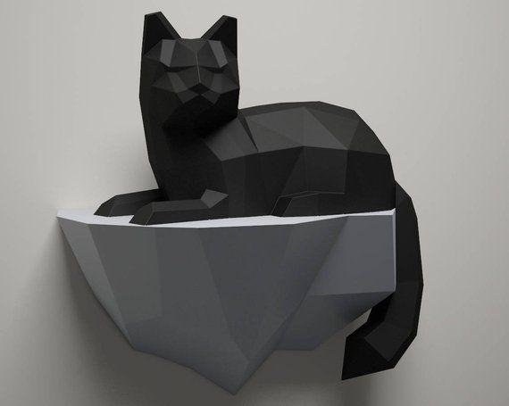 Papercraft Cat On A Rock Wall Construction 3d Paper Craft