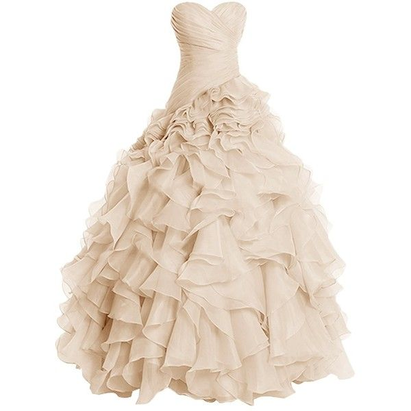 Dresstells Long Prom Dress Sweetheart Wedding Bridal Gown Organza Ball... ($165) ❤ liked on Polyvore featuring dresses, long length dresses, prom dresses, beige dress, beige prom dresses and sweetheart neck dress