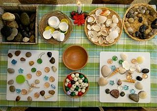 Natural materials and other loose parts to have indoors...