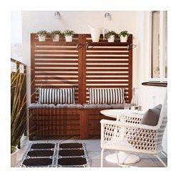 ÄPPLARÖ- separate the a/c etc on rooftop? Bench w/panel and shelves, outdoor, brown stained - IKEA