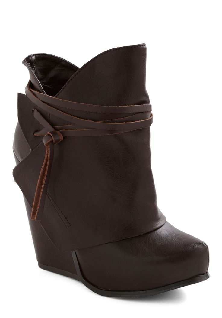 If only they were real leather...    Swathe Your Step Wedge - Brown, Solid, Casual, Fall, Faux Leather, Platform, Low, Wedge