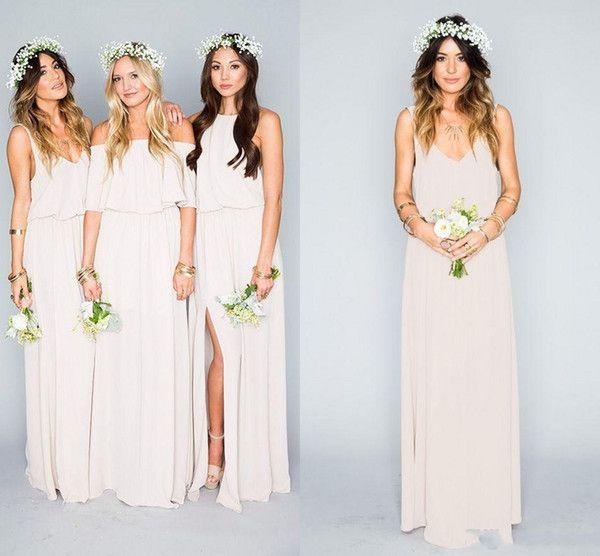 2016 New Arrival Summer Beach Bohemian Bridesmaid Dresses V-neck Crew Neck Off Shoulders Chiffon Side Split Boho Cheap Bridesmaid Gowns