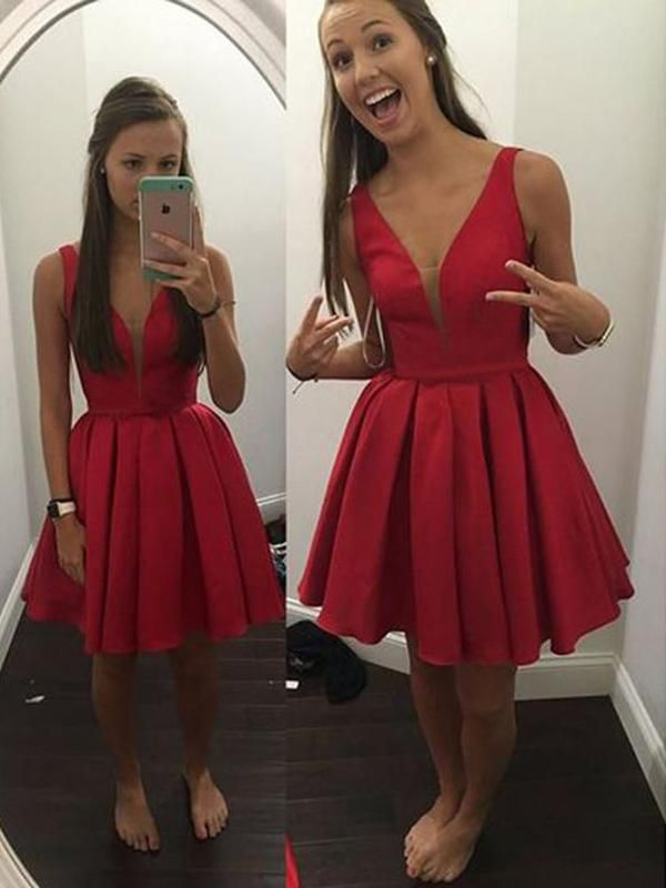Red Short Tight Homecoming Dresses Under $100