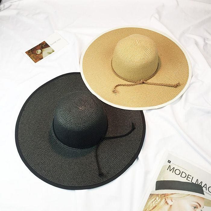 6pcs free shipping 2017A-241 Good quality Exclusive sales straw solid big brim lady sun hat outdoor  cap wholesale