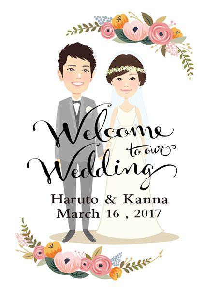 似顔絵ウェルカムボード Floral Wedding - おしゃれなウェルカムボードshop【Hananohi】