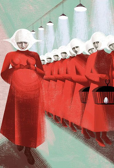 Margaret Atwood's The Handmaid's Tale - in pictures.    'As we wait in our double line, the door opens and two more women come in, both in the red dresses and white wings of the Handmaids. One of them is vastly pregnant; her belly, under her loose garment, swells triumphantly. There is a shifting in the room, a murmur, an escape of breath; despite ourselves we turn our heads, blatantly, to see better; our fingers itch to touch her. She's a magic presence to us, an object of envy and desire…